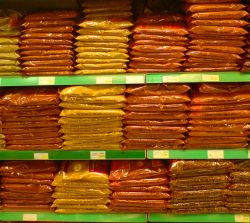 neatly stacked spices in Sharif & Sons